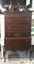 Highboy Queen Anne Style Mahogany W/swan-neck Bonnet + Carved Shell. 71h X 36w