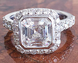 14k White Gold Asscher Forever One Moissanite And Diamond Engagement Ring 4.00ct