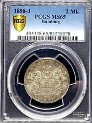 1898-j Germany Hamburg Silver 2 Two Mark Coin Pcgs-ms65