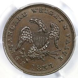 1837 Ht-73 Pcgs Ms 65 Bn Half Cent Worth Of Copper Hard Times Token 1/2c