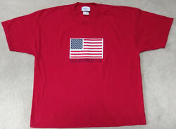 America Us Flag Stitched And Appliqued Mandc Sport T-shirt Adult's Xl Red