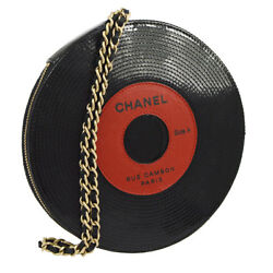 Auth CHANEL Collectible Record Motif Chain Clutch Bag Black Red Patent AK19257
