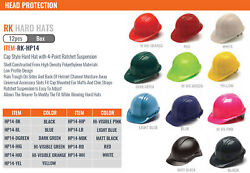 Pack Of 12 Hard Hat Cap Or Brim Style With 4 Ratchet Suspension One Size Hp14/24