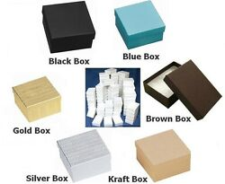 100 Cotton Filled Boxes 3.75 X 3.75 X 2 For Gifts And Jewelry You Choose Color