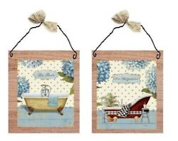 💗 Victorian Bathroom Paris Style Plaques Bed And Bath Blue Flowers Wall Hang