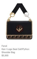 Fendi Kan I Logo Seal CalfPython Shoulder Bag with an Extra handle added in