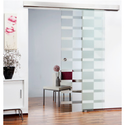 Sliding Glass Barn Door with stripe pattern design Frosted Privacy Opaque Design