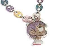 Cartoon 925 Sterling Silver 3'' CZ Pendant With 20'' Long & 9mm Wide Chain