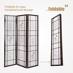 3 Panel Folding Shoji Room Screen Divider with Flowered Pattern Privacy