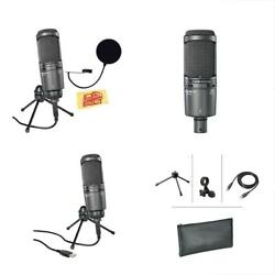 Audio-Technica AT2020USB+ Cardioid Condenser Microphone Bundle Pop Filter Austin