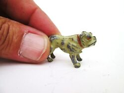 Antique Painted Lead Miniature English Bulldog Made in England Toy Dog Figurine