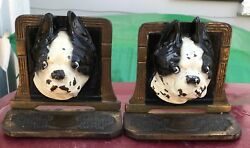 Cast Iron Boston Terrier Dog Head Bookends wbell ~ HUBLEY or JUDD ~ painted