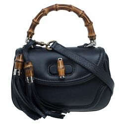 Gucci Black Leather Small New Bamboo Top Handle Bag women's lady's