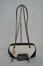 Chanel BlackWhite Chevron Stitch Quilted Leather Chain Strap Shoulder Bag