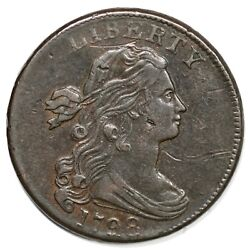 1798 S-166 Lg 8, 2nd Hair Lds Draped Bust Large Cent Coin 1c