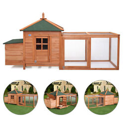 Wooden Chicken Coop w Backyard Run and Nesting Box Hen House Poultry Pet