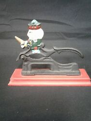 Nut Cracker Cast Iron Wooden Stand Patriotic Man On Top