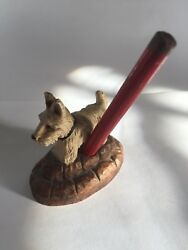 Vintage Burwood West Highland White Scottish Terrier Dog Pencil Holder Figurine