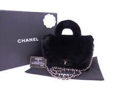 CHANEL Orylag CC Chain Shoulder Hand Tote Bag Rabbit Fur Lapin Black Gold Used