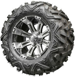 12 Rhox Rx180 Machined Golf Cart Wheels And All Terrain Tires Combo Set Of 4