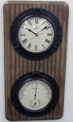 BULOVA WALL CLOCK THERMOMETER HYGROMETER AND CLOCK C3734