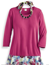NEW WOMEN'S ENDLESS DESIGNS TUNIC with NECKLACE Sz L $40