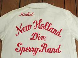 Vintage 1950s New Holland Sperry Rand White Bowling Team Shirt Blouse Rishel 1/2