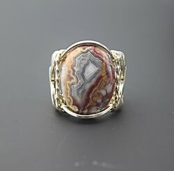 Sterling Silver Laguna Agate Cabochon Wire Wrapped Ring