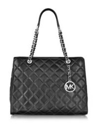 NWT MICHAEL KORS Savannah Large Quilted Tote & Astrid Carryall Wallet BlkSilver