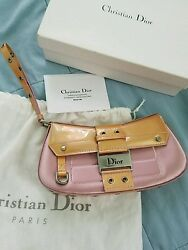 Christian Dior Pink Silk and Patent Leather Wristlet