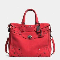 COACH RHYDER 33 NUBUCK 34018 RED ~ VHTF LIMITED ED NEW wTags ! + Feather fob !