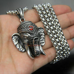 Menand039s Vintage Large Stainless Steel Elephant Necklace Pendant Ruby Red Cz Stone