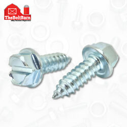 1/4 X 3/4 License Plate Screws Slotted Hex Head Self Tapping 14x3/4 - 2700 Pcs