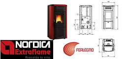 PELLET STOVE 102 KW-N AIR DUCTED VIVIANA PLUS BORDEAUX EXTRAFLAME