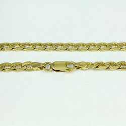 16-24 4.3mm 14k Yellow Flat Beveled Link Chainnew Solid Italian Necklace2414