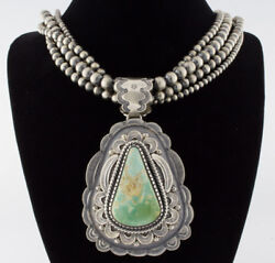 4-strand Sterling Silver Bead Necklace With Natural Royston Turquoise Pendant