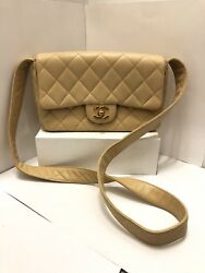 Chanel Classic Caviar Quilted Leather Bag Tan Flap CC Closure Shoulder Strap