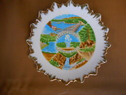 Yellowstone National Park Falls Vintage Souvenir Plate 1960and039s