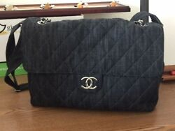 Authentic New CHANEL Denim Quilted Stretch Spirit Messenger Bag