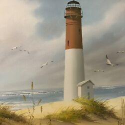 H. Gailey Lighthouse Oil Painting On Canvas. Signed .