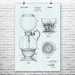 Vacuum Coffee Maker Poster Patent Print Coffee Bar Decor Cafe Owner Gift