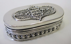 Fine 925 Sterling Silver Leaf Filigree And Beaded Oval Snuff Spice Box Shtabbaq