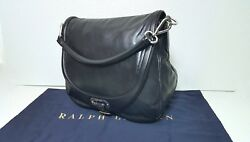 RALPH LAUREN COLLECTION MADE IN ITALY WOMEN  HOBO BLACK CALFSKIN LEATHER BAG