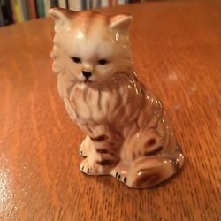 Cat-Kitten Figurine Brown  Sitting Up Ceramic-Porcelain Hand Painted Figure-CUTE