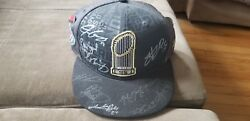 2016 Cubs World Series Autographed Locker Room Hat With World Series Pins