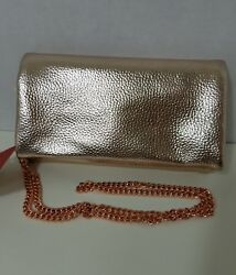 Merona Evening Gold Bar Fold Up Clutch with Removable Crossbody Chain Strap NWT $19.95