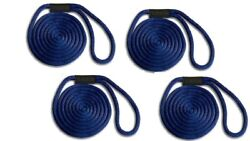 Solid Braid Nylon Dock Line - 5/8 X 25and039 4-pack Floats / Uv / Usa - Navy Blue