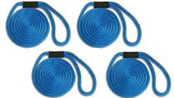 Solid Braid Nylon Dock Line 5/8 X 25and039 4-pack Non Fading / Usa - Royal Blue