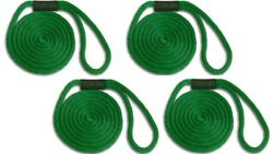 Solid Braid Nylon Dock Line -5/8 X 35and039 4-pack Floats / Usa Made / Green