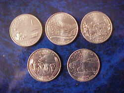 2006 Philadelphia Mint State Quarter Set Of 5 Different State Coins Uncirculated